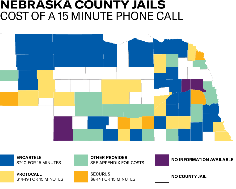 Map of Nebraska Counties with provider and cost range for county jail phone calls