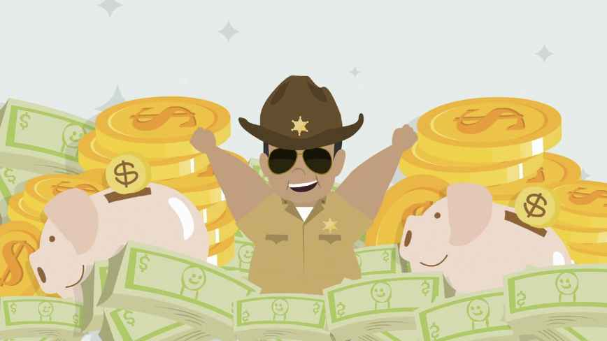 Screenshot of promotional video for Encartele - a sheriff swimming in money