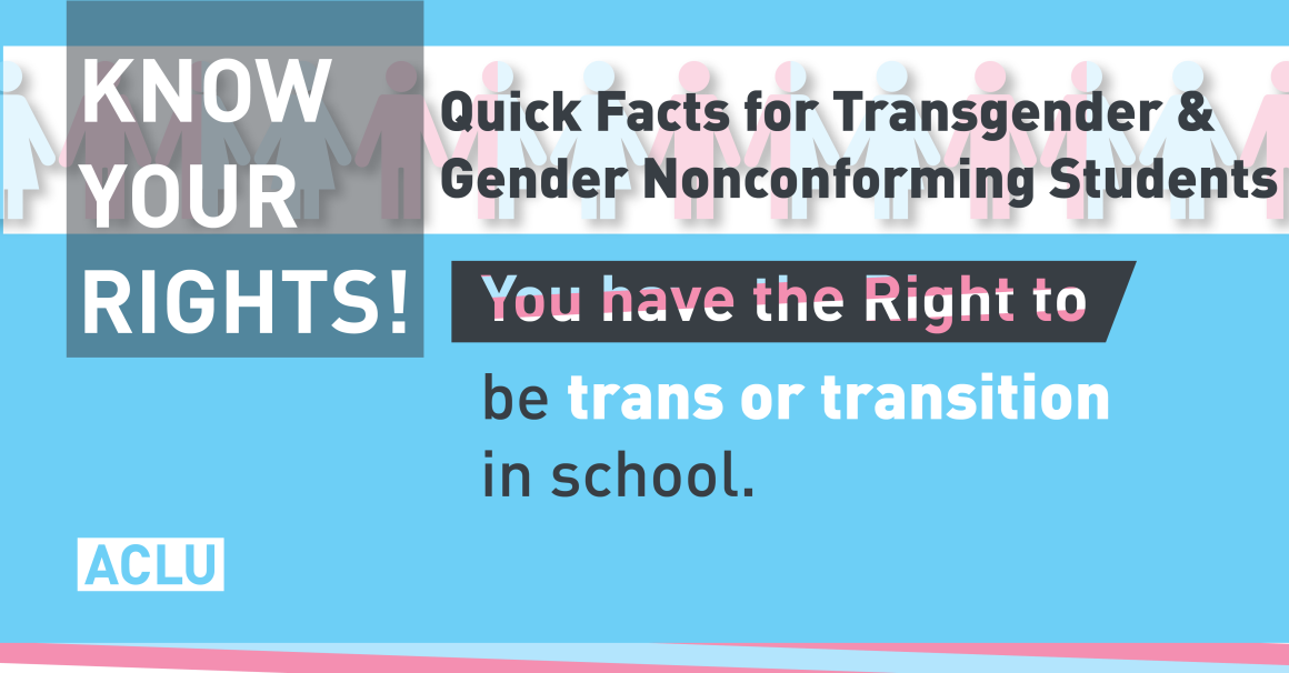 Text: Know Your Rights! Quick Facts for Transgender & Gender Nonconforming Students