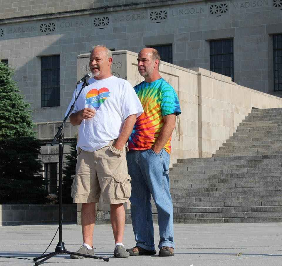 Bil and Greg speaking at rally
