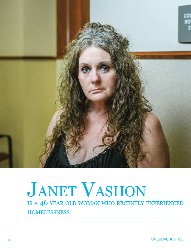 Image of Janet Vashon, a 46 year old woman who recently experienced homelessness.