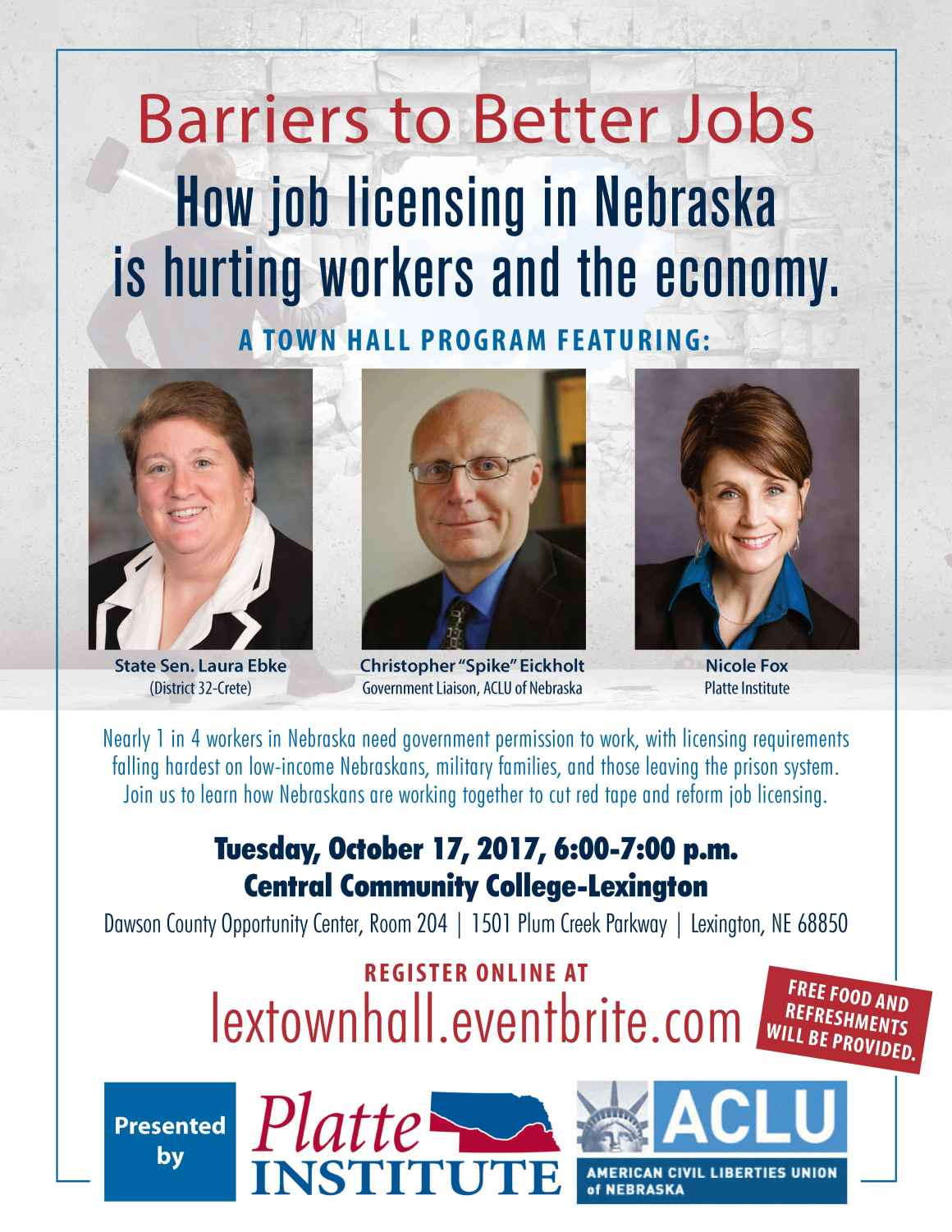 Flyer for Barriers to Better Jobs Townhall - Lexington