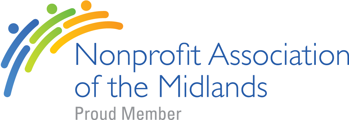 "A graphic reading, ""Nonprofit Association of the Midlands"" proud member."