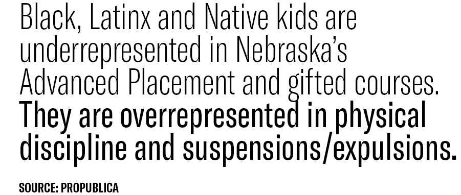 """A graphic reading, """"Black, Latinx and Native kids are underrepresented in Nebraska's Advanced Placement and gifted courses. They are overrepresented in physical discipline and suspensions/expulsions."""""""