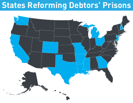 map of states reforming debtors prisons