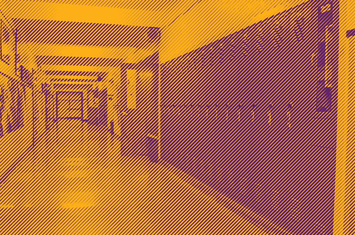 Photo of an empy school hallway