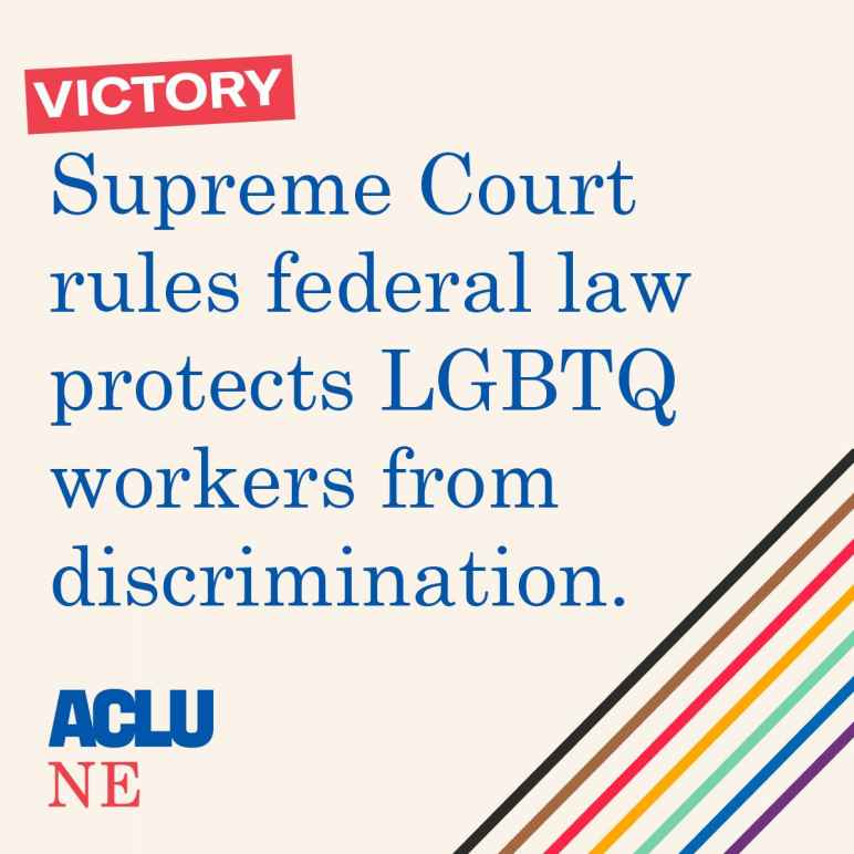 """Victory: Supreme Court rules federal law protects LGBTQ workers from discrimination"" written across a pale peach background"