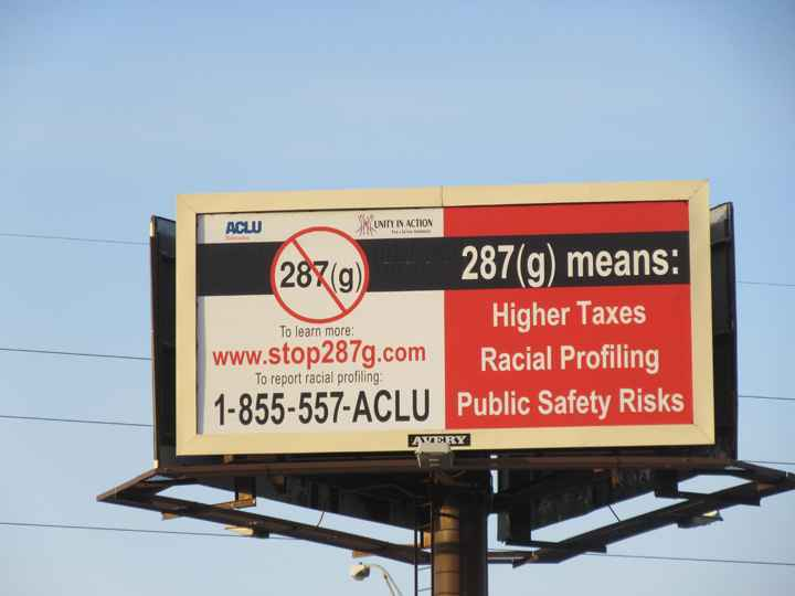 Photo of billboard opposing 287(g)