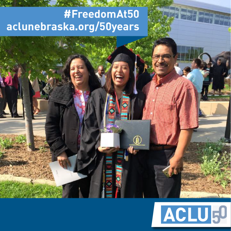 Photo of Maria and her family at her college graduation