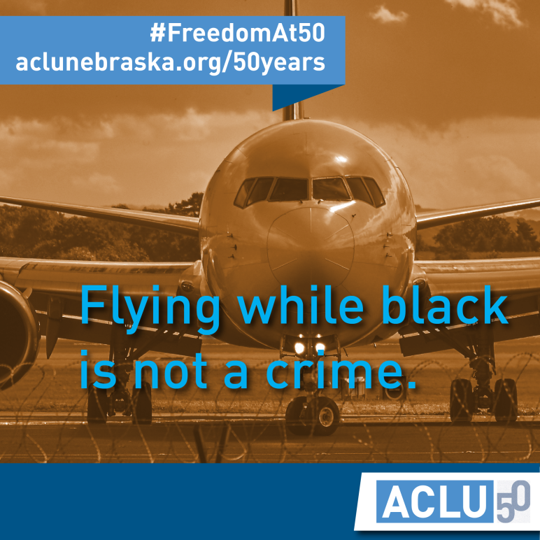 "Photo of plane with text ""flying while black is not a crime."""