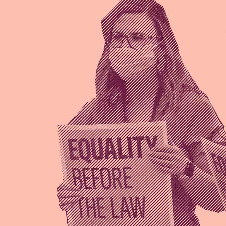 """A stylized photo of a woman holding a protest sign reading, """"Equality Before the Law."""""""