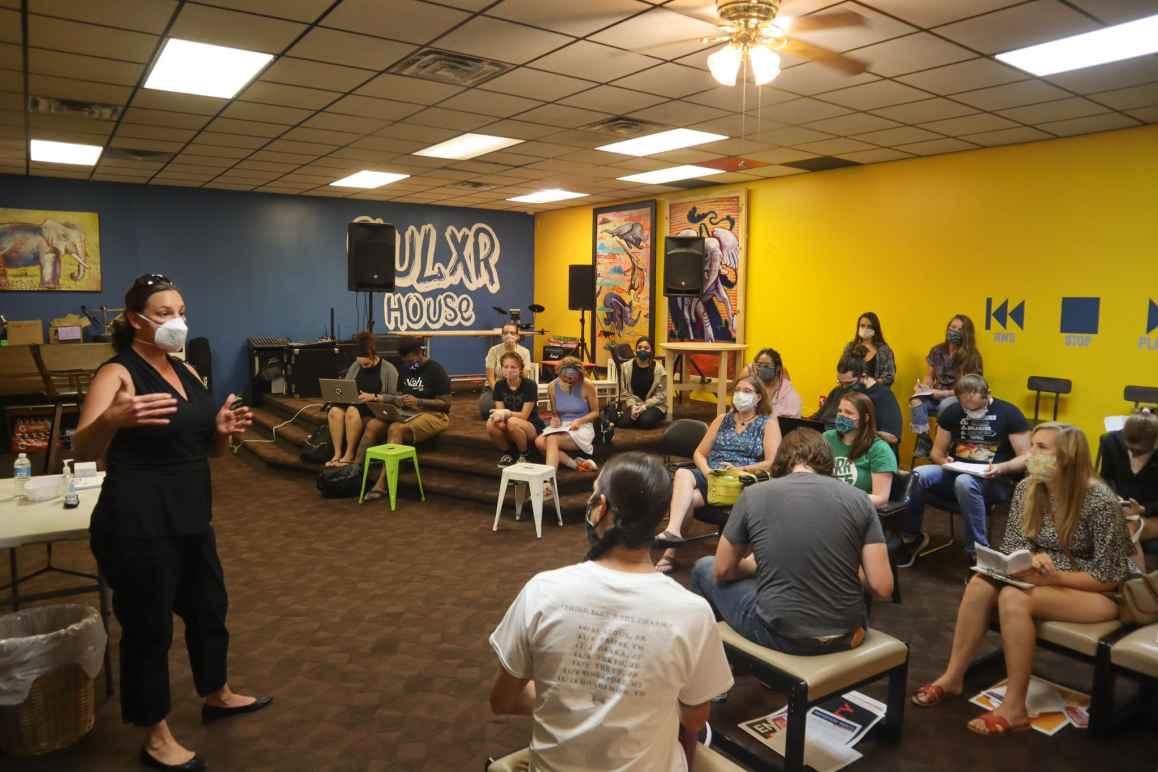 ACLU of Nebraska Executive Director Danielle Conrad speaks at a local Legal Clinic