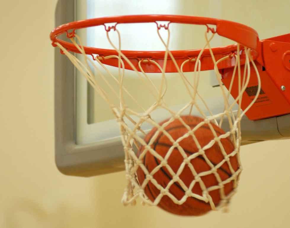 Basketball goes through hoop