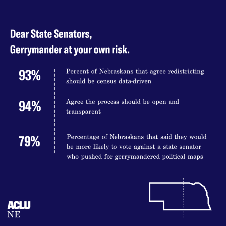 """A graphic reading, """"Dear State Senators, gerrymander at your own risk."""""""