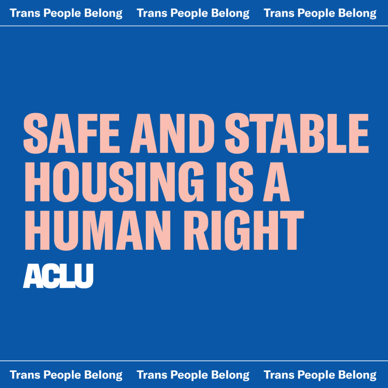 "Blue background with light pink text that says ""SAFE AND STABLE HOUSING IS A HUMAN RIGHT"". There is a white ACLU logo in the bottom left corner and the top banner says ""Trans People Belong"" in white text."
