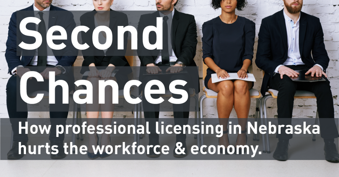 "Image of individuals waiting for a job interview with text ""Second Chances: How professional licensing in Nebraska hasurts the workforce & economy."""