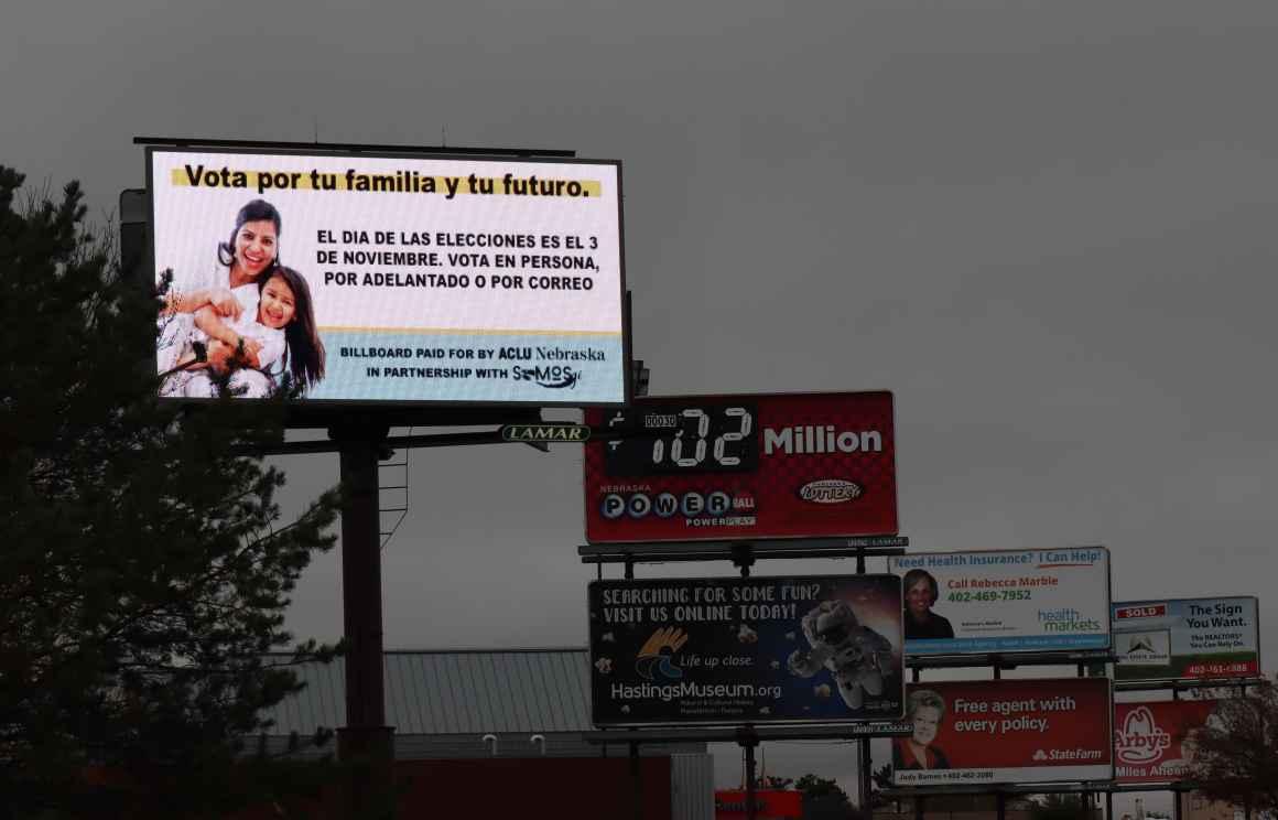 A billboard in Hastings, Nebraska encourages readers to be voters.