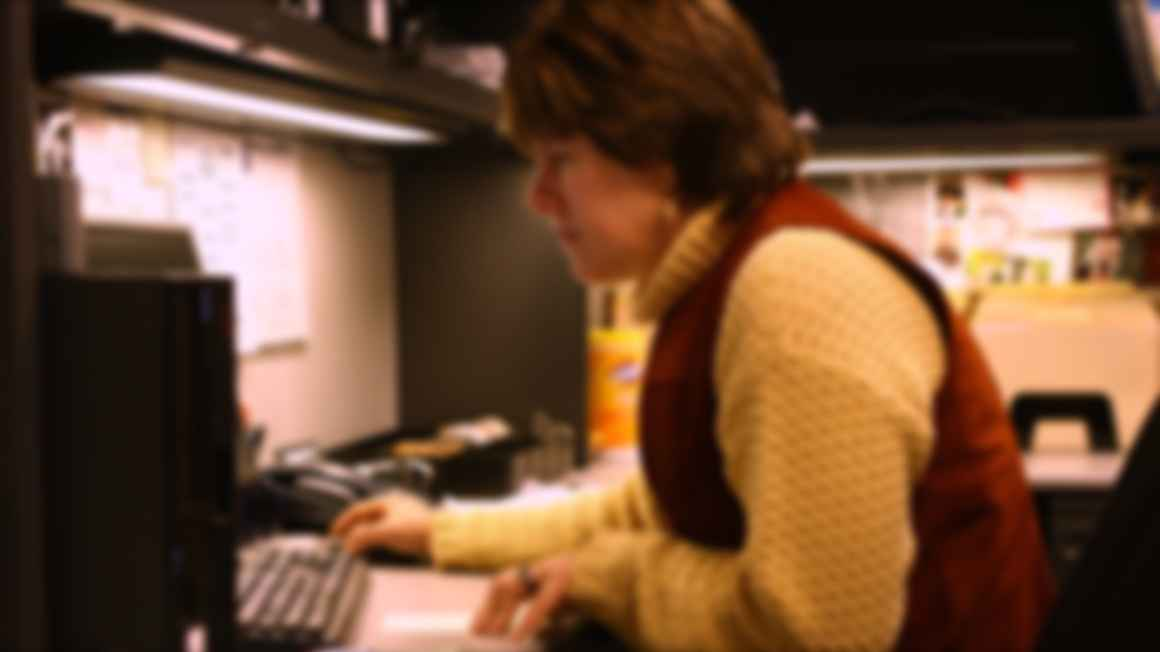 Picture of a woman at a computer