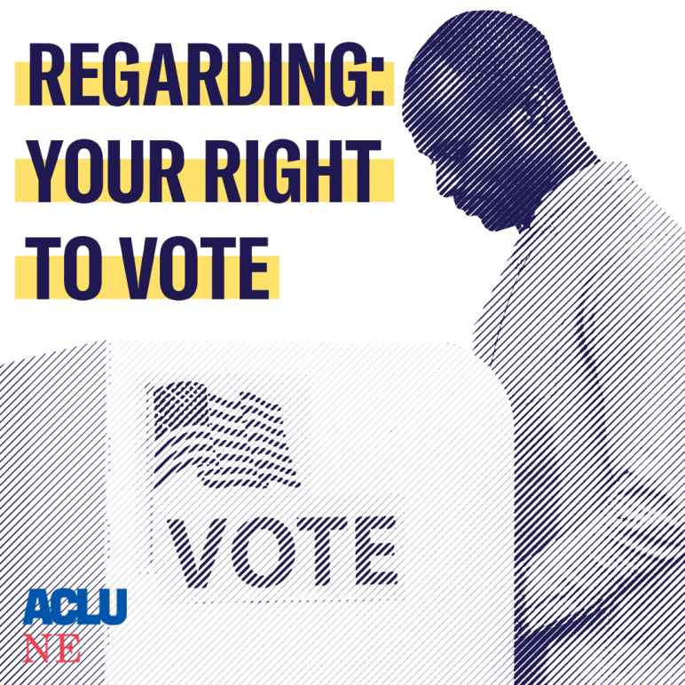 """A man stands at a voting booth next to a message that says """"Regarding Your Right to Vote."""""""
