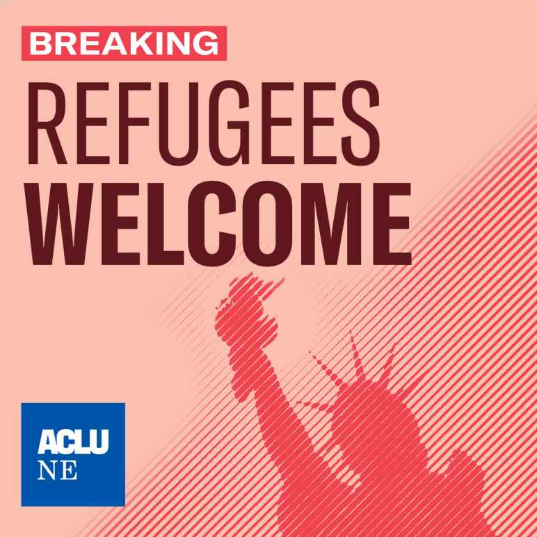 """An image showing the Statue of Liberty, reading """"Refugees Welcome"""""""