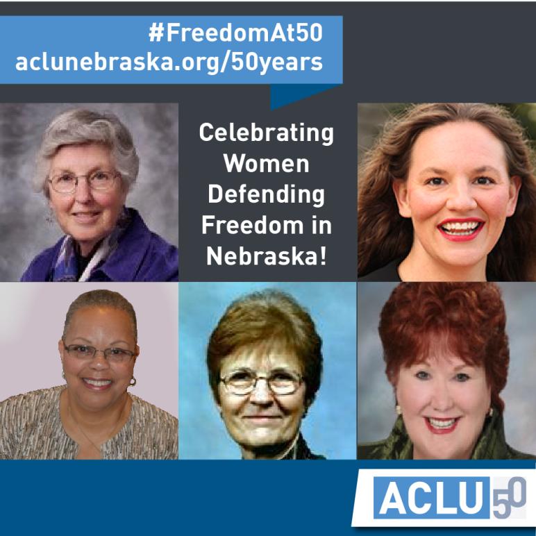 Text: Celebrating Women Defending Freedom in Nebraska
