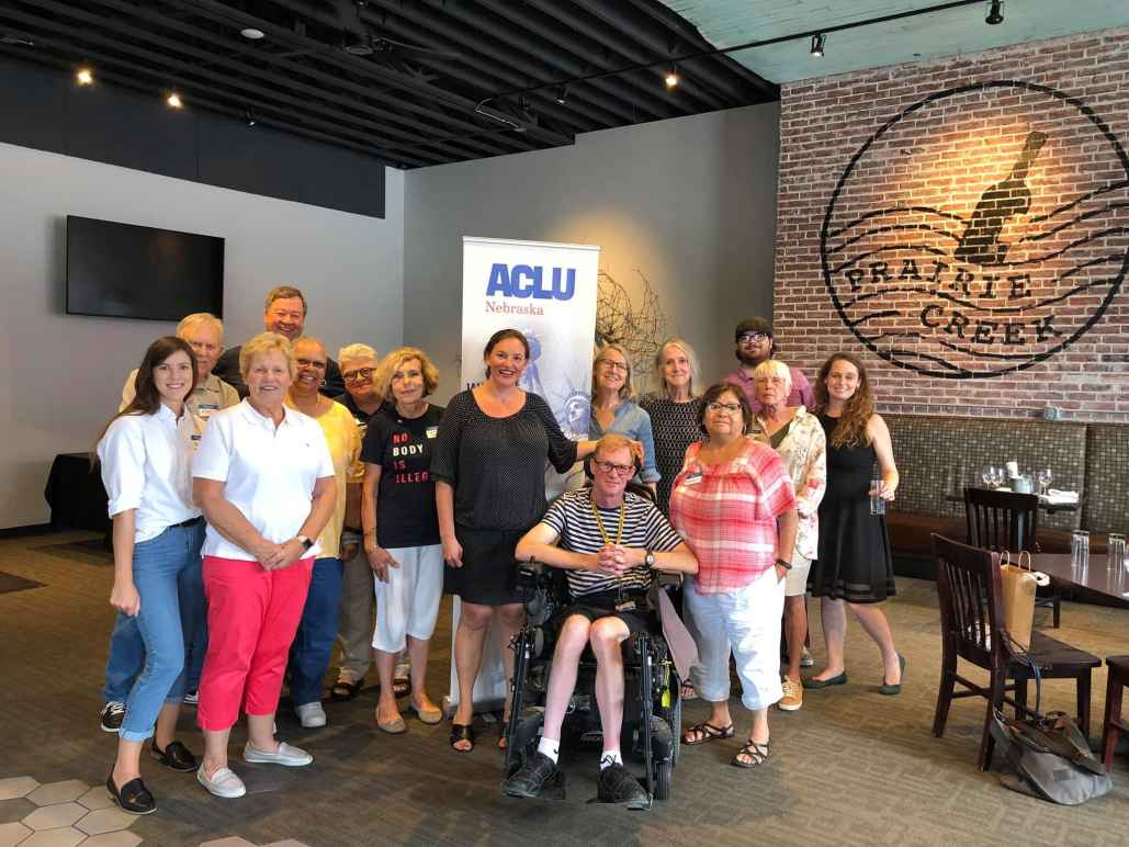 ACLU supporters pose for group photo
