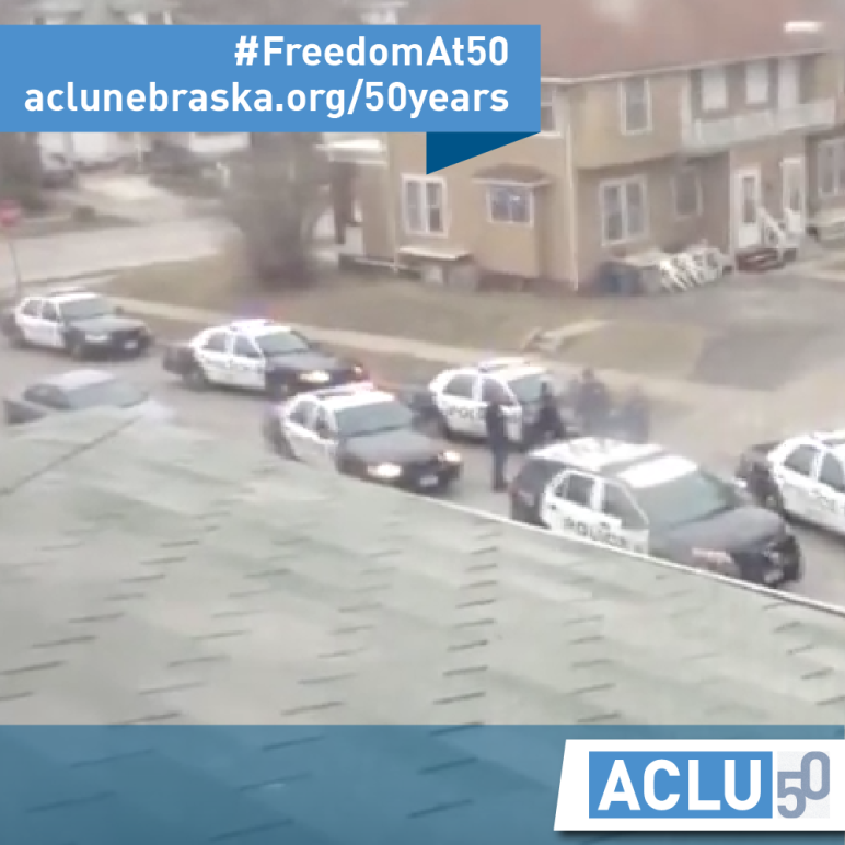 ACLU of NE 50th Anniversary Image - Police Outside Johnson Family