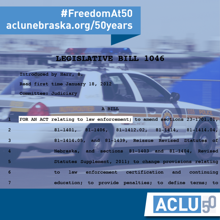 Text of LB 1046 from 2012 over a police vehicle