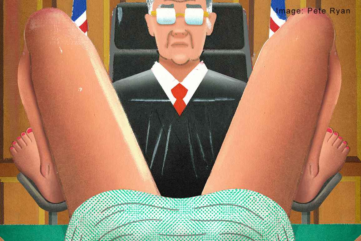 Image of a judge looking between a woman's legs.