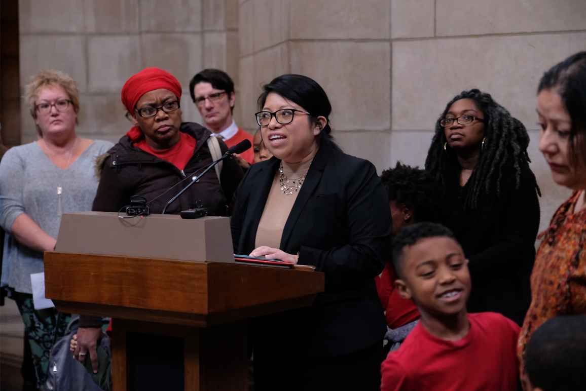 Rose Godinez, legal and policy counsel at the ACLU of Nebraska, speaks at a press conference.