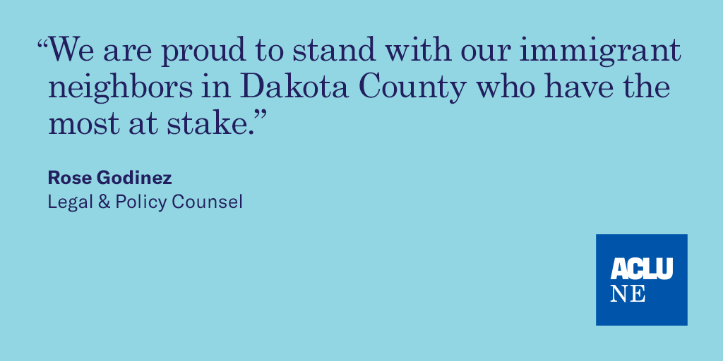 "Quote ""We are proud to stand with our immigrant neighbors in Dakota County who have the most at stake."""