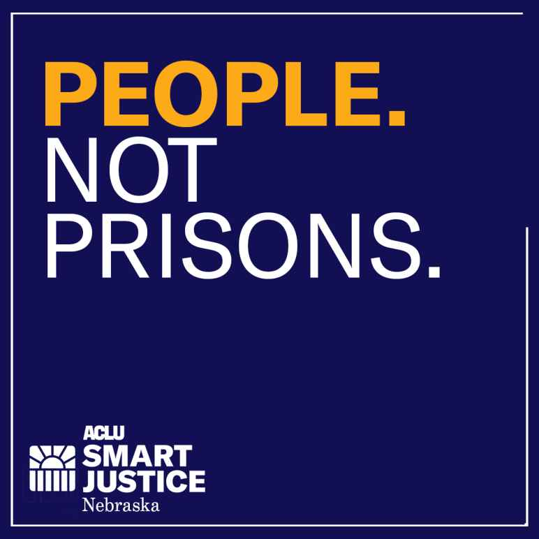 """A graphic reading """"People. Not prisons."""""""
