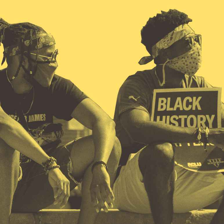 """A stylized photo showing two students. One is holding a slightly obscured poster reading """"Black History Matters."""""""