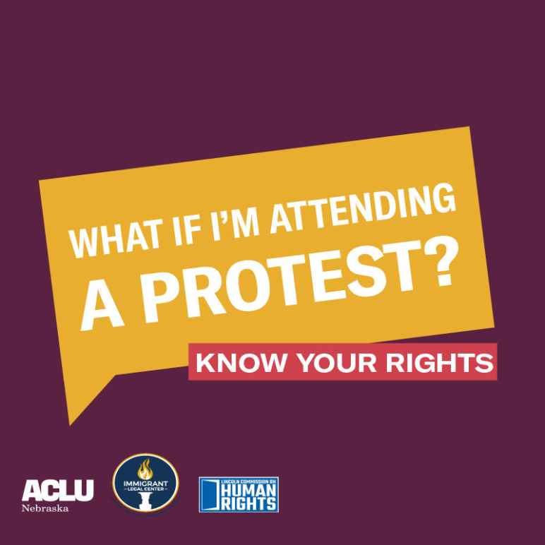 "A graphic reading, ""What if I'm attending a protest? Know your rights."""