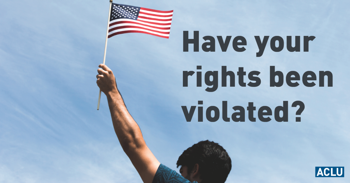 """American Flag with text """"Have your rights been violated?"""""""