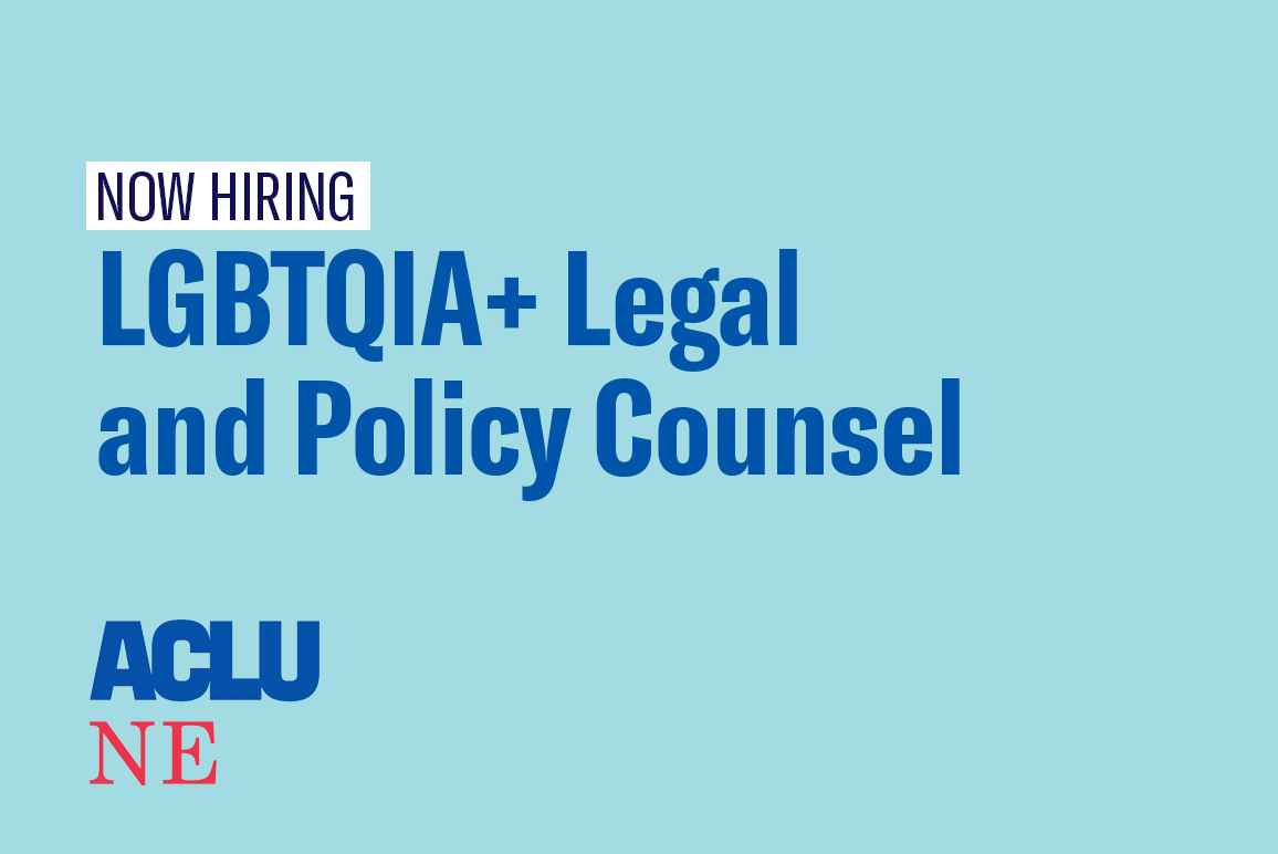"A graphic reading ""Now hiring LGBTQIA+ Legal and Policy Counsel"""