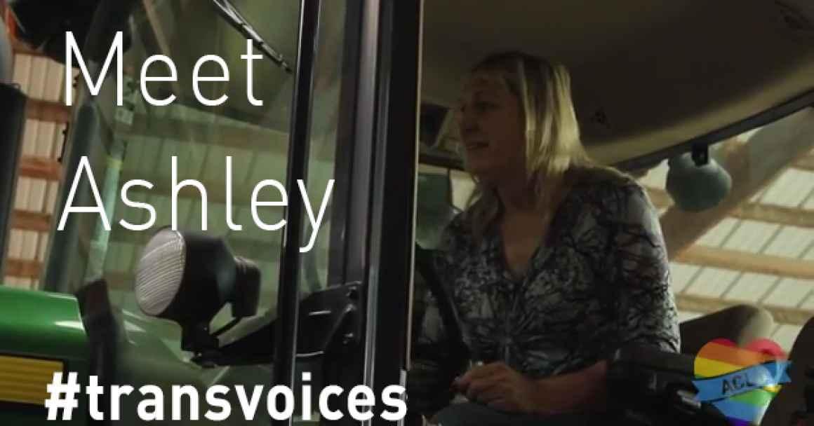Ashley, a transgender farmer, driver her tractor.