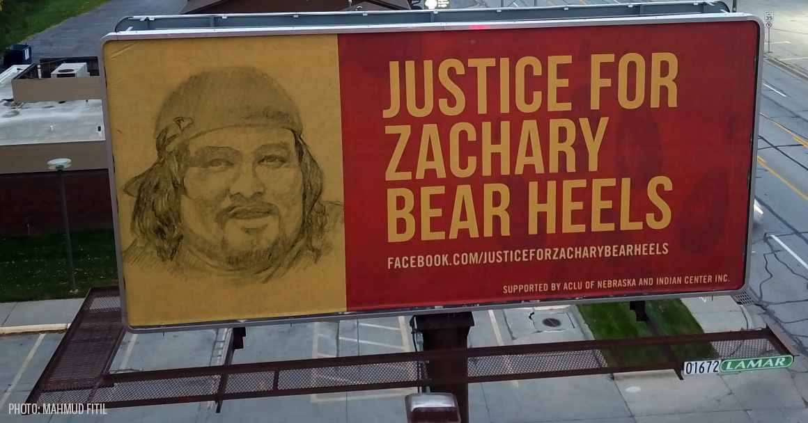 "A billboard in Omaha reads ""Justice for Zachary Bear Heels."""